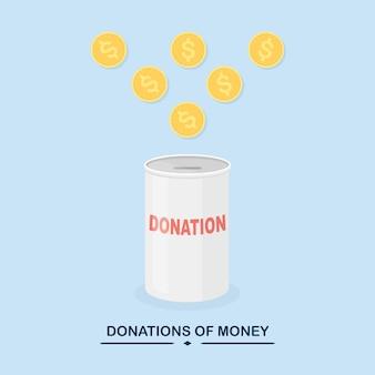 募金箱、ドルの現金が入った瓶、コイン。