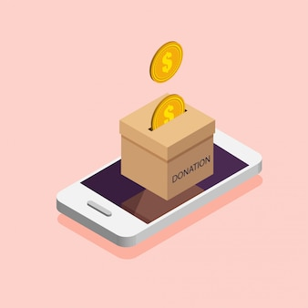 Donation box in the phone. donate, giving money online. illustration in isometric style.