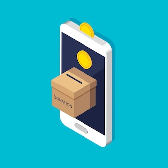 Donation box in the phone in trendy isometric style