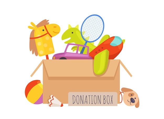 Donation box. voluntary help children, isolated box with toys. charity illustration.