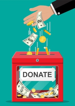 Donation box with golden coins and dollar banknotes. charity, donate, help and aid concept.