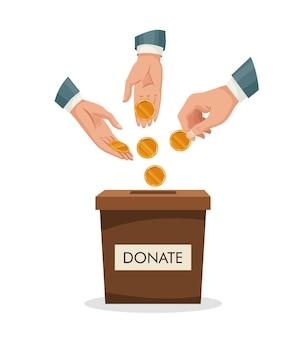 Ящик для пожертвований с человеческой рукой вставить золотую монету, деньги. мужчина бросает золотую монету в картонную коробку. пожертвовать, давая денежную благотворительную концепцию.