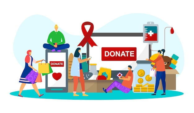 Donation for care, vector illustration. man woman volunteer character donate food, toys, money and blood. charity assistance, people community
