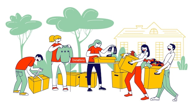 Donation and charity concept. cartoon flat illustration