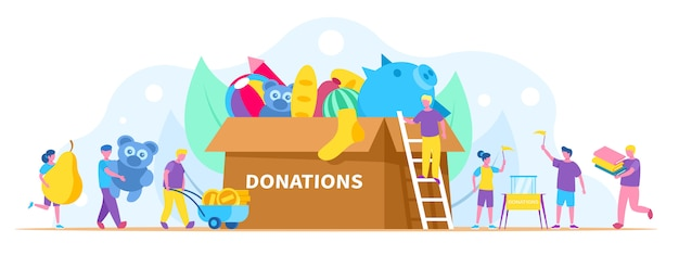 Donation, charity illustration, people collect different things in huge donation box.