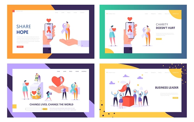 Donation, charity, volunteers work and leadership website landing page templates set