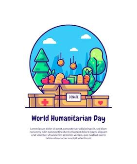 Пожертвование на всемирный день гуманитарной помощи мультфильм векторные иллюстрации. концепция всемирного дня гуманитарной помощи premium векторы