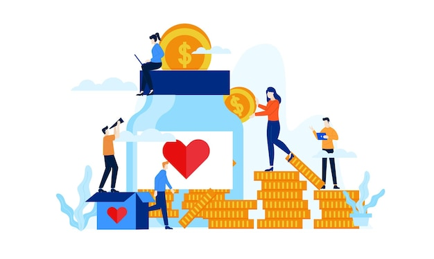 Donation jar with big heart flat illustration design