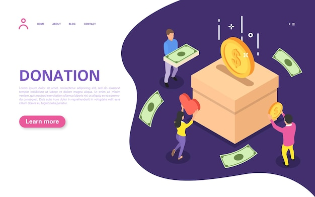 Donation landing page. little people do charity work. volunteering and cash contributions.
