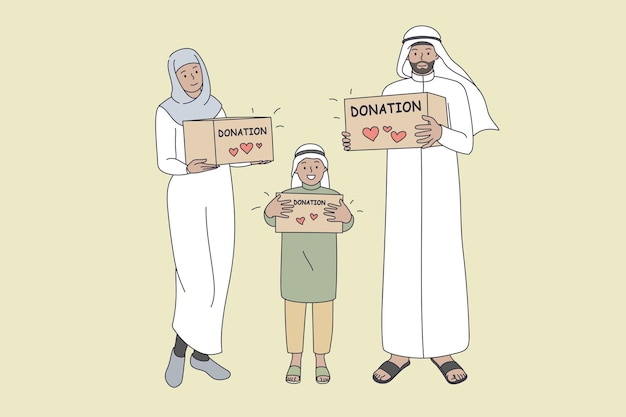 Donation for muslim families concept. smiling arabic family mother father son standing holding donation boxes in hands with lettering for charity ramadan vector illustration