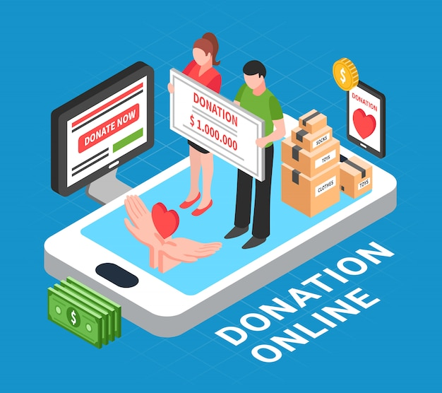 Donation online isometric composition with heart in human palms and people conducting donation drive vector illustration