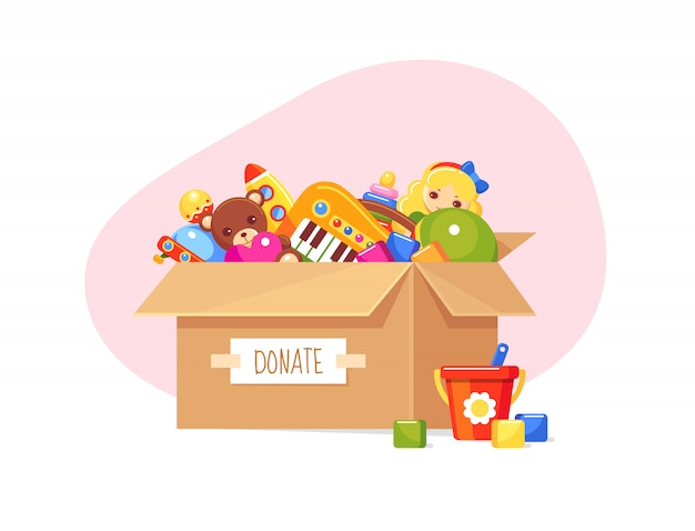 Donation paper box with children's toys