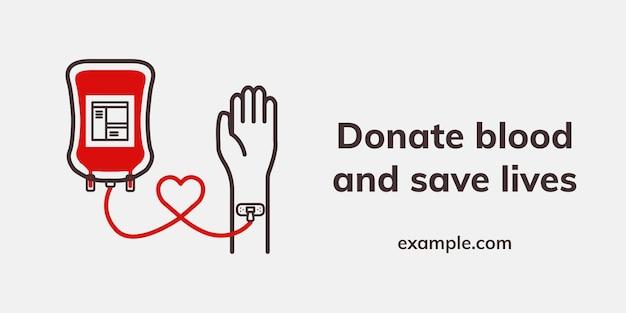 Banner pubblicitario di beneficenza per la salute di vettore del modello di donazione salva vite