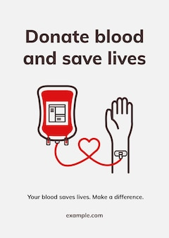 Donation save lives template vector health charity ad poster