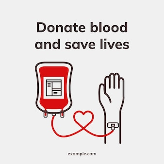 Donation save lives template vector health charity social media ad