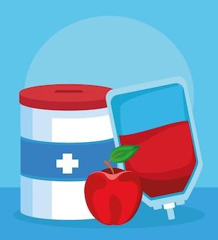寄付金、血液バッグ、リンゴ、カラフルなデザイン
