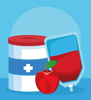 Donation tin, blood bag and apple, colorful design
