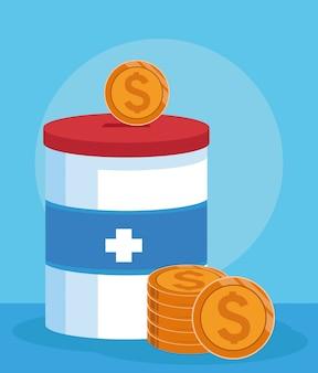 Пожертвование олова с денежными монетами на синем фоне