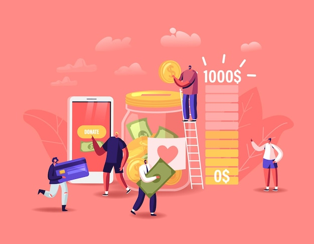 Donation, volunteers charity concept. tiny male or female characters throw coins and bills into huge glass jar for donate. people give money using smartphone application. cartoon vector illustration