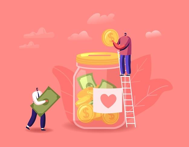 Пожертвование, иллюстрация благотворительности волонтеров. крошечные персонажи мужского пола стоят на лестнице, бросая монеты и купюры