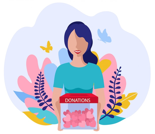 Donations and charity. vector volunteering concept with flat girl with hearts