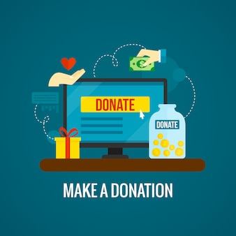 Donations online with laptop