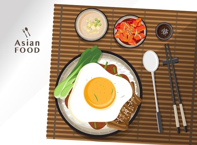 Donburi pork rice bowl with egg, lettuce toping