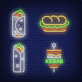 Doner kebab and shawarma neon signs set