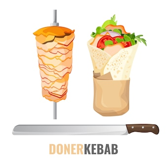 Doner kebab with vegetables and chicken Premium Vector