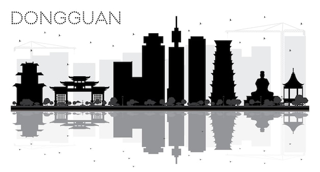 Dongguan city skyline black and white silhouette with reflections. vector illustration. cityscape with landmarks.