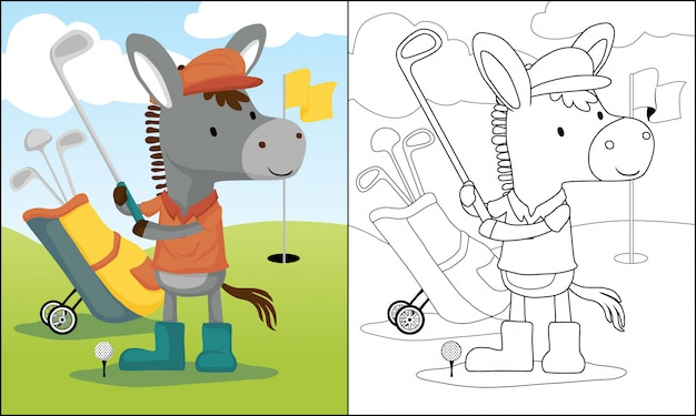 Donkey cartoon playing golf