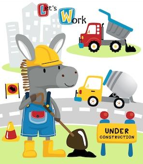 Donkey cartoon with construction vehicles
