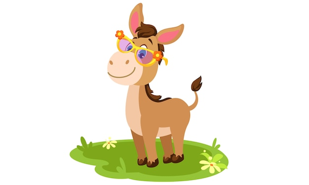 Donkey cute cartoon vector illustration