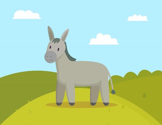 Donkey farm animal graze on meadow colorful illustration