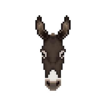 Голова осла в стиле пиксель-арт