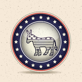 Donkey inside button icon. vote election and government theme. isolated design. vector illustration