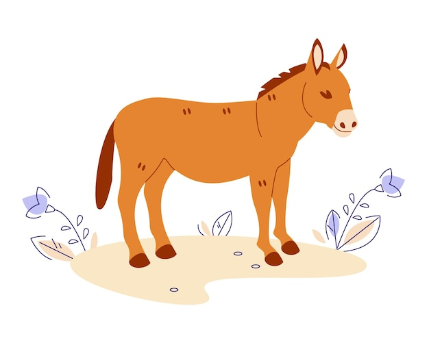 Donkey in the meadow. vector illustration in flat cartoon style. isolated on a white background.