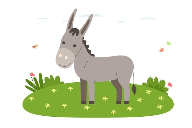 ロバ。ペット、家畜、家畜。ロバは芝生の上を歩いています。漫画のフラットスタイルのベクトルイラスト。
