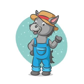 Donkey using farming costume with cowboy hat