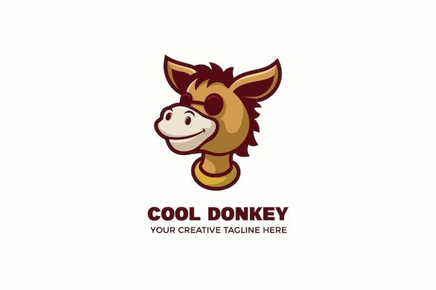 Donkey wear glasses mascot character logo template