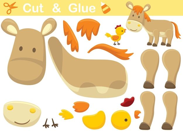 Donkey with chicken. education paper game for children. cutout and gluing.   cartoon illustration