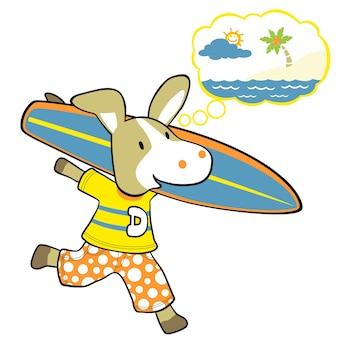 Donkey with surfboard, vector cartoon