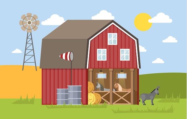 마구간 헛간에 서있는 당나귀. 농장의 여름. 집 주변에서 깨어나 풀을 먹는 당나귀. 삽화