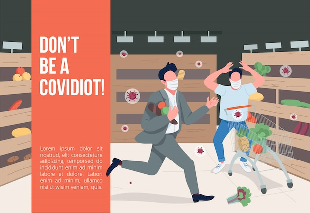 Dont be a covidiot banner flat template