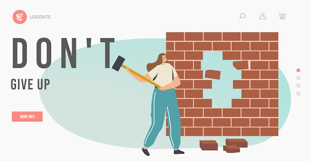 포기하지 말고 문제 방문 페이지 템플릿과 싸우십시오. 사업가 캐릭터 브레이크 벽돌 벽 극복 장애물, 비즈니스 도전, 작업 솔루션, 목표 달성. 만화 벡터 일러스트 레이 션