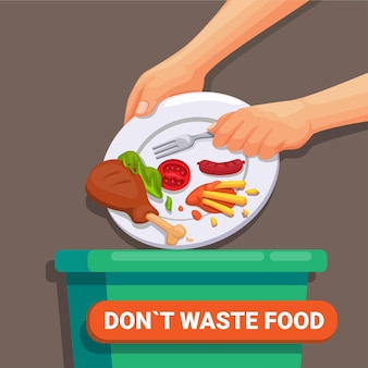 Dont waste food world food day and international awareness day on food loss and waste vector