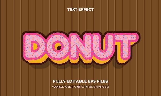 도넛 3d 텍스트 효과 스타일 벡터