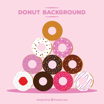 Donut background with flat design