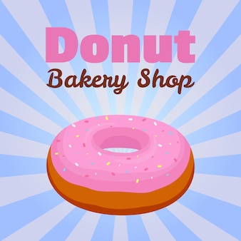 Donut  banner with pink glaze pastry for advertising of bakery shop