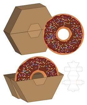 Donut box packaging die cut template design. 3d